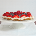 [Image of a Keto Lemon Berry Tart on a pedestal cake stand]