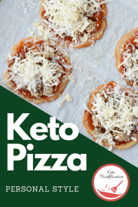 Image of small pizzas. Text reads Keto Pizza personal style, keto foodification