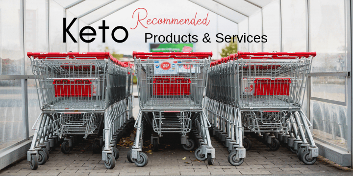 Image of three rows of shopping carts. Text reads recommended keto products and services