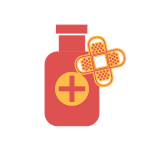 [Image of a medicine bottle and bandaids]