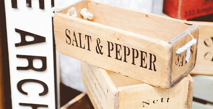 "Image of tacked wooden boxes. Text reads ""salt & Pepper"""