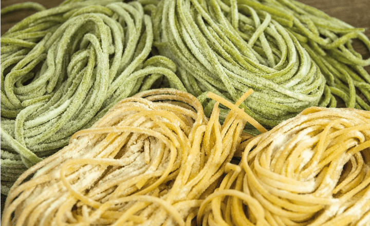image of coiled strips of pasta