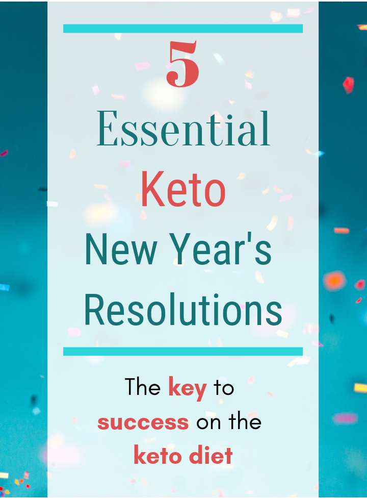 Text reads 5 Essential Keto New Year's Resolutions. The key to success on the keto diet