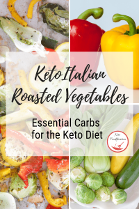 Image of assortment of low carb vegetables. Text reads Keto Italian Roasted Vegetables, Essential carbs for the keto diet
