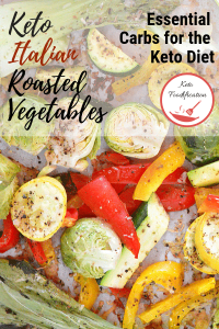 Image of a variety of roasted vegetables, Text reads Keto italian roasted vegetables.
