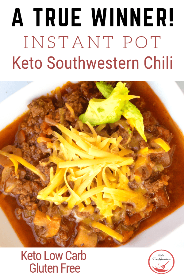 Keto Instant Pot Southwestern Chili is a winner! The simple ingredients all come together to create a flavorful chili everyone in the family will love. Best of all it\'s made in the instant pot for a speedy quick meal on the table in a little over 30 minutes. The perfect prep meal for weeknight meals.  #ketochile #ketoinstantpot #ketomealprep #ketodinner #ketofamilymeals #lowcarbrecipe #glutenfreerecipe