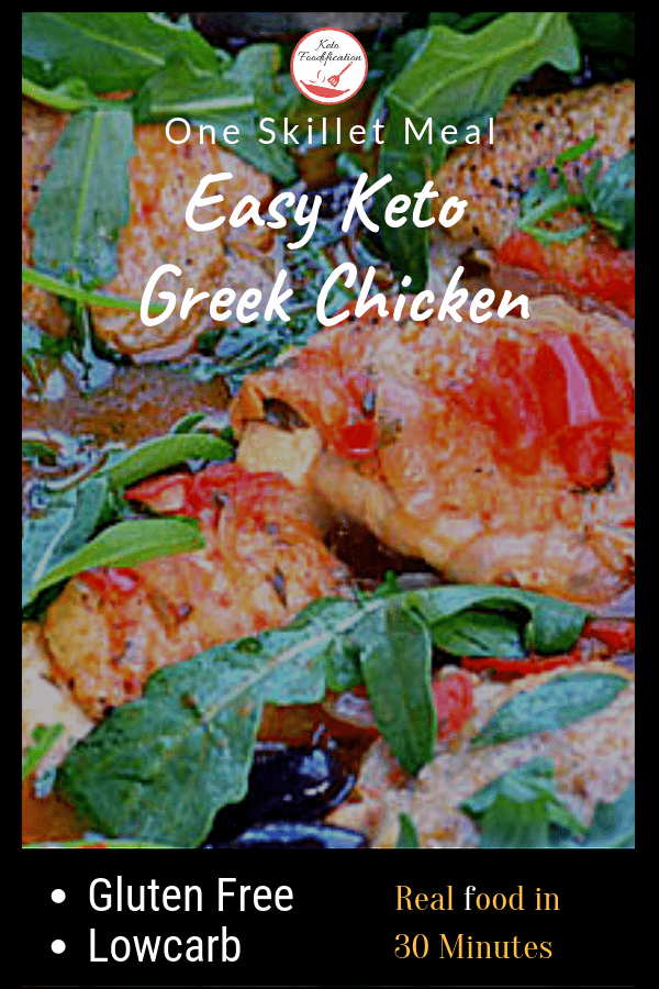 The Easy Keto Greek Chicken is a simple recipe that can be made using one skillet in 30 minutes.  This keto gem of a recipe uses simple ingredients that play well together to bring out maximum flavor. I think the the salty bite of the kalamata olives send this dish over the top. Try it tonight, you won\'t regret it. #ketochickenrecipe #ketodietrecipe #glutenfreechickenrecipe