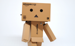 image of robot made out of amazon boxes