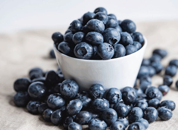 Image of blueberries in a white bowl