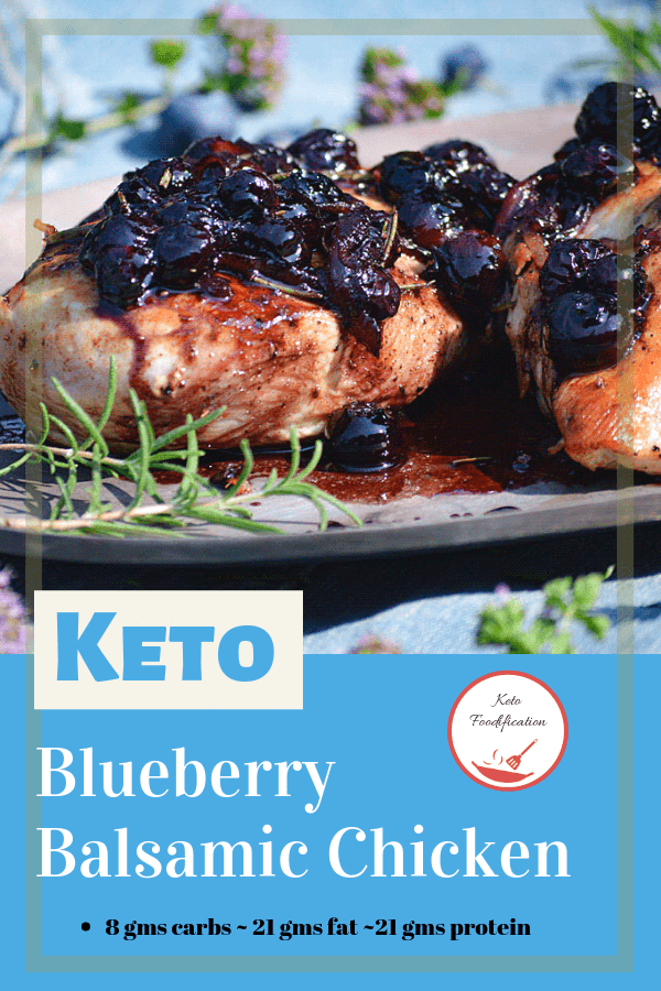 Image of chicken with blueberries on top on a silver plater. Text reads keto blueberry balsamic chicken, keto foodification, 8 gms carbs, 21 gms fat, 21 gms protein