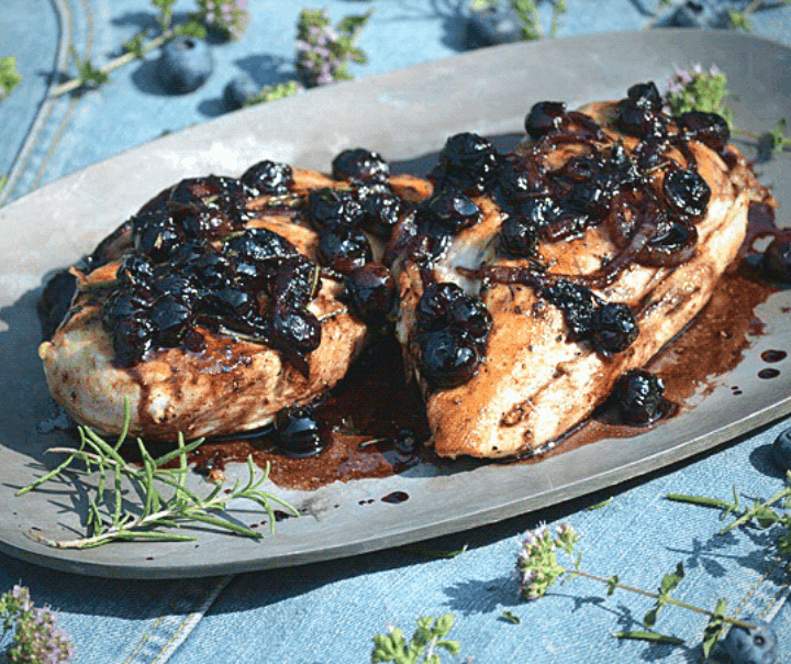 image of keto blueberry balsamic chicken on a silver platter