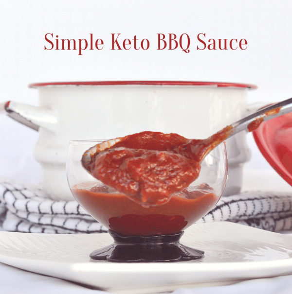 Image of simple keto bbq sauce being spooned up from a glass dish