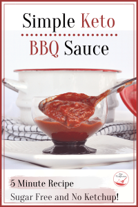 Image of bbq sauce being spooned up from a glass dish. Text reads simple keto bbq sauce, 5 minute recipe and no ketchup needed.,