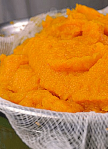 Image of Pumpkin Puree in a mesh strainer